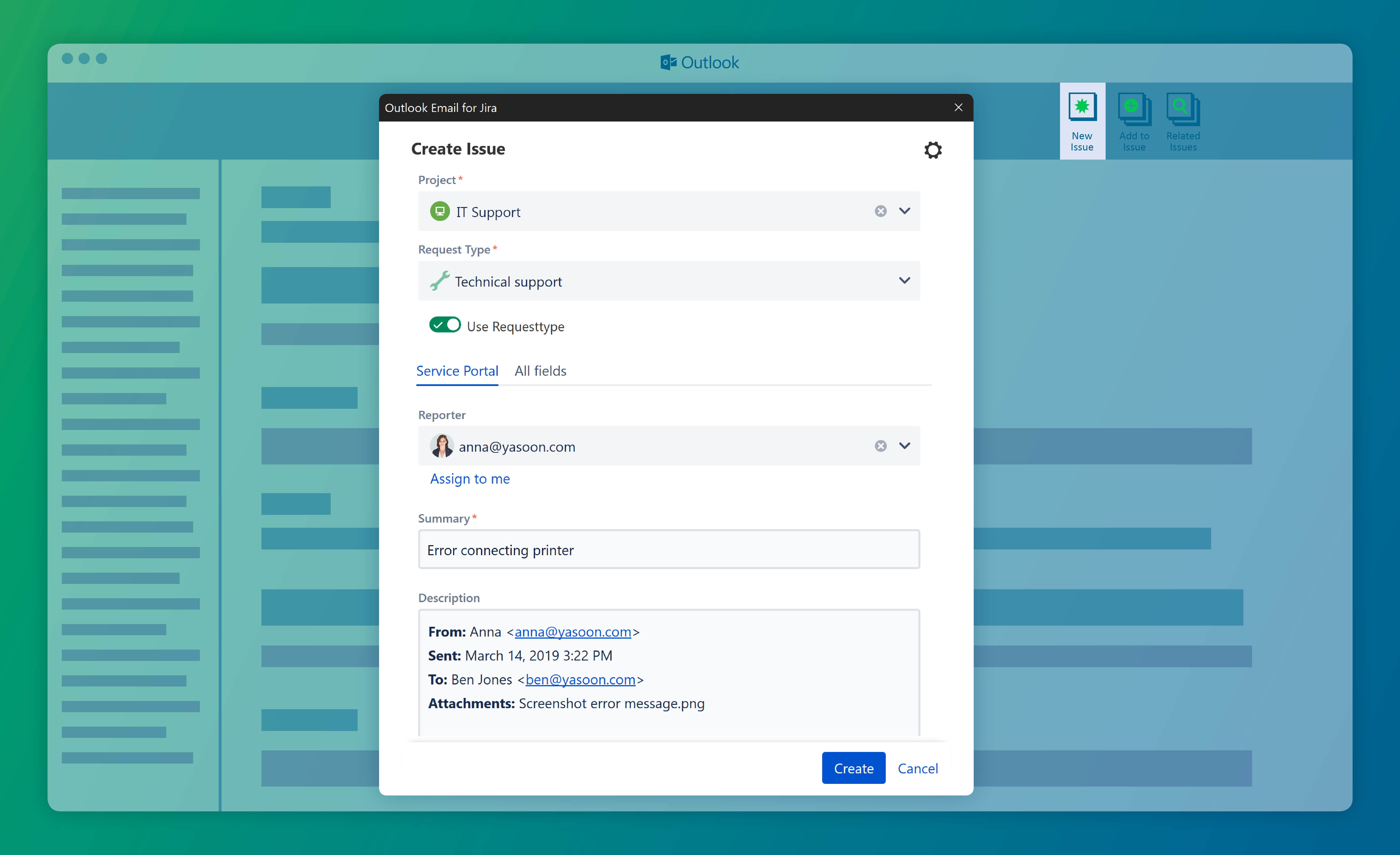 Outlook Email for Jira - Create Jira issues from emails